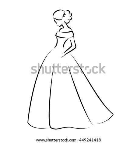 Sketch Elegant Bride White Wedding Dress Stock Vector (2018 ...