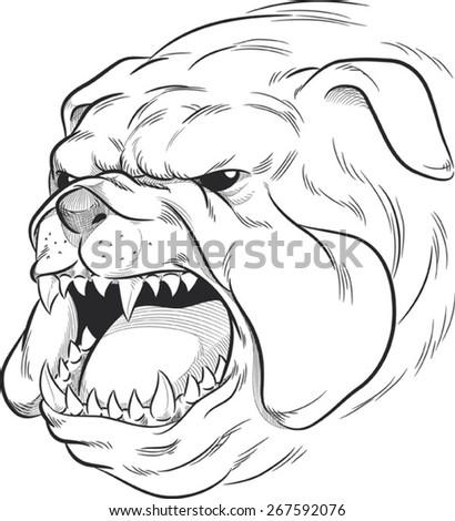 Sketch of Angry Bulldog Barking - stock vector