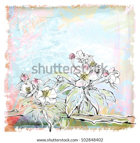 sketch of apple tree in bloom - stock vector