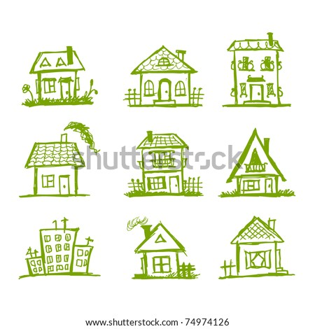 Sketch of art houses for your design - stock vector