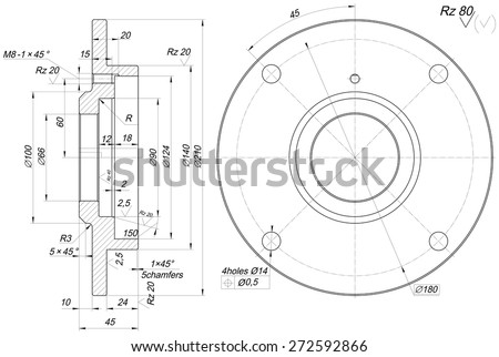 Guitar Engineering Drawing Engineering Drawing With Lines