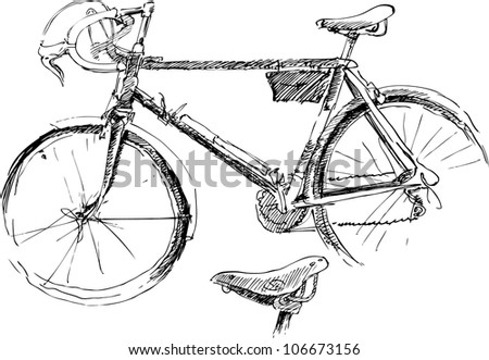 Sketch of bicycle - stock vector