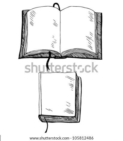 Sketch of book. Hand drown illustration with empty cover and leafs. Template for comic books, scrapbooks, sketchbooks, textbooks, notebooks. School elements. - stock vector