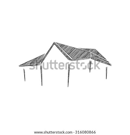 Sketch of building on transparent background - stock vector