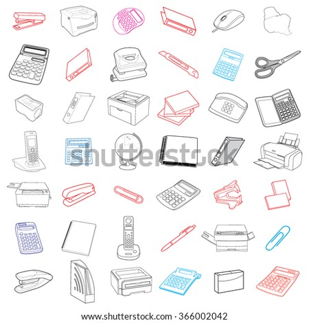 Sketch of business processes, management, marketing and finance. Hand Drawn Business Doodles vector set - stock vector