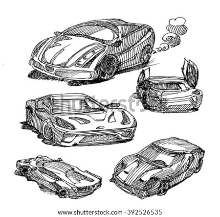 Sketch Cars Sketch Sport Car Stock Photo (Photo, Vector ...