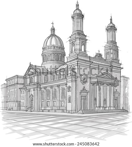 Sketch of church - stock vector