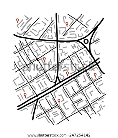 Sketch of city map for your design. Vector illustration - stock vector