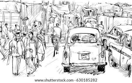 Sketch of cityscape in kolkata india show transportation and peoples