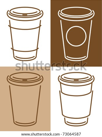 sketch of coffee cups, vector illustration - stock vector
