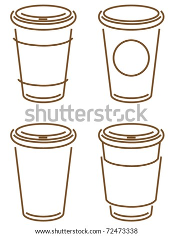 sketch of coffee takeout cups - stock vector