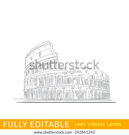 Sketch of Colosseum, Rome, Italy. Modern vector illustration concept. Fully editable outlines, saved brushes and layers. - stock vector