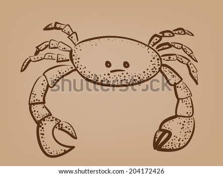 sketch of crab on brown paper abstract vector illustration - stock vector