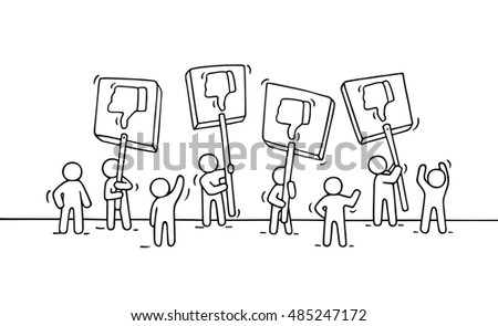 Sketch of crowd little people with dislike symbols. Doodle cute miniature scene of workers with transparents. Hand drawn cartoon vector illustration for business and internet design.
