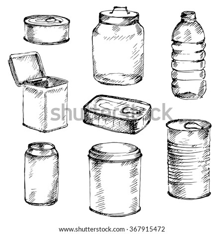 Sketch of different mason jars, metal cans and bottles. Hand-drawn vector illustration. - stock vector