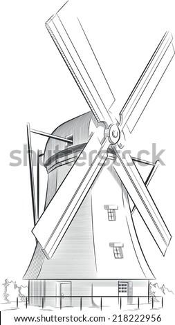 Sketch of Dutch Landmark - Windmill - stock vector