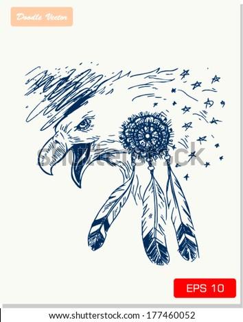 sketch of eagle vector illustration  - stock vector