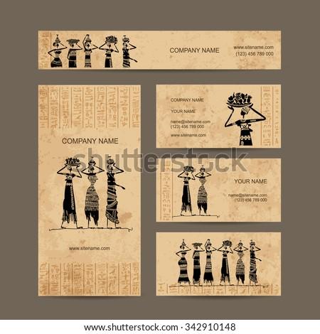 sketch egypt women jugs business cards stock vector 342910148
