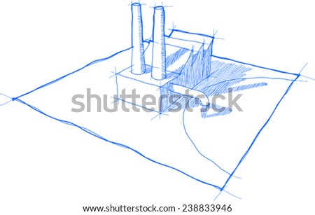 sketch of factory with shadows and no background - stock vector