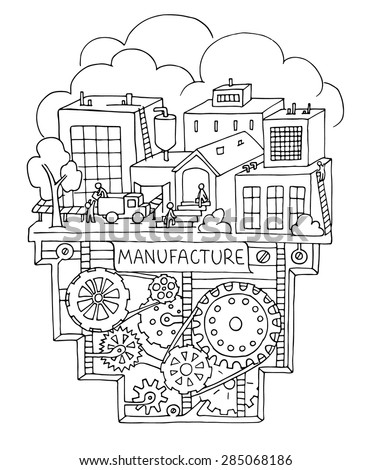 Sketch of factory work with working people, workshop, production. Doodle  manufacture, plant with machinery and gears. Hand drawn illustration  for business design. - stock vector