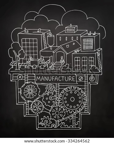 Sketch of factory work with working people, workshop, production. Doodle  manufacture, plant with machinery and gears. Hand drawn illustration  for business design isolated on chalkboard. - stock vector