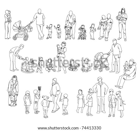 sketch of family kids and babies - Sketch Images For Kids