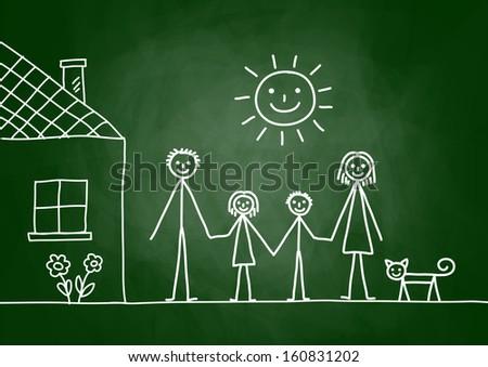 Sketch of family on blackboard - stock vector