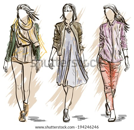 Sketch of Fashion models - stock vector