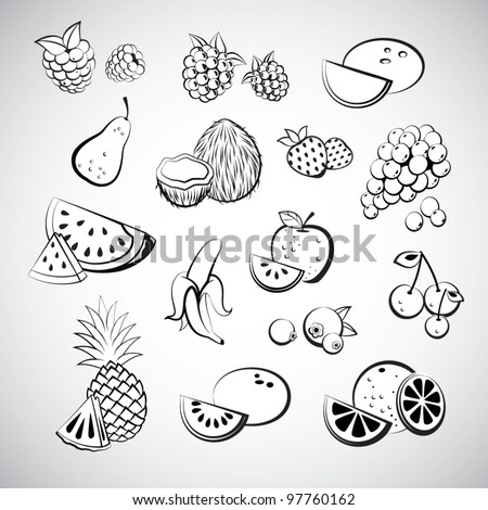 Sketch of fruit icons - stock vector