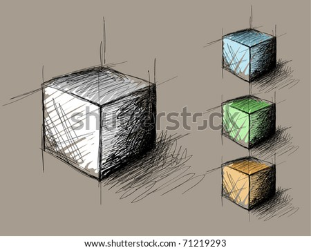 sketch of geometric  object (cube) - stock vector