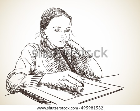 Sketch of girl studying to draw using pen tablet, Hand drawn vector illustration