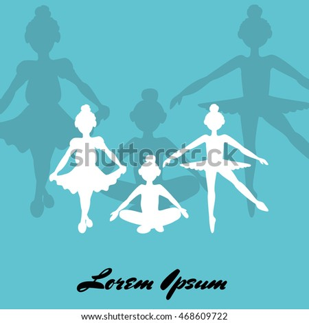 sketch of girls ballerina standing in a pose. Vector Illustration
