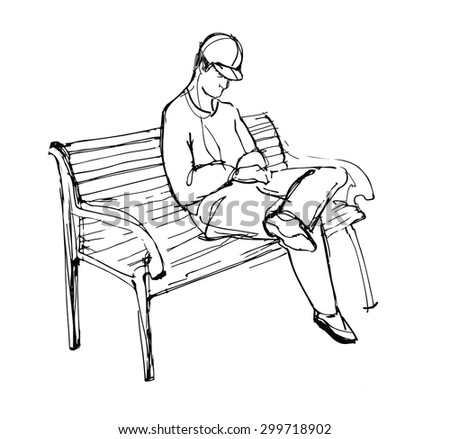 sketch of guy sitting on a bench - stock vector