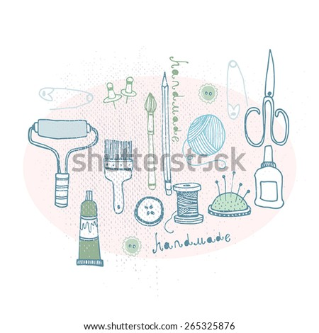 Sketch of hand made objects - stock vector