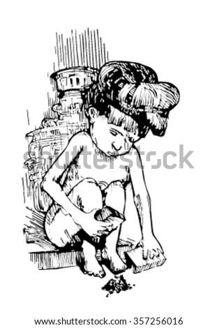 sketch of homeless boy. sketch - stock vector