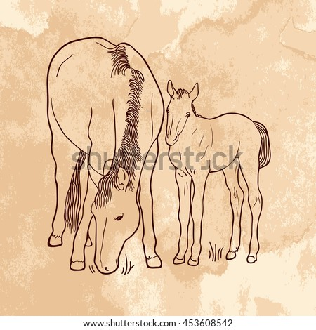 Sketch of horse and foal on grunge brown background. Art vector illustration. - stock vector