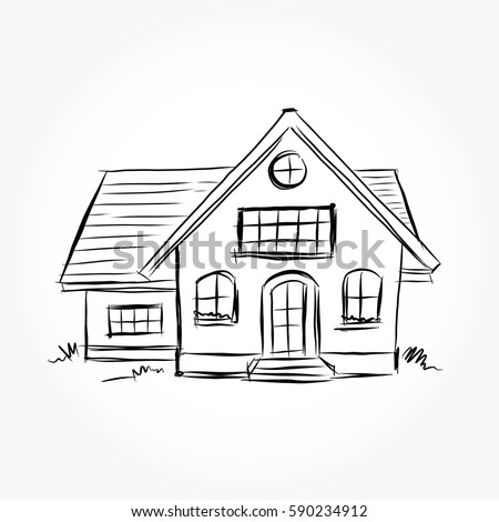 Sketch Of House Architecture .Drawing Free Hand Vector Illustration.outline  Sketch Drawing Perspective Of