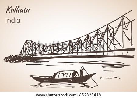 Sketch of indian city kolkata bridge isolated on white background