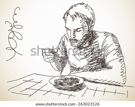 Sketch of man eating pasta, Hand drawn Vector illustration - stock vector