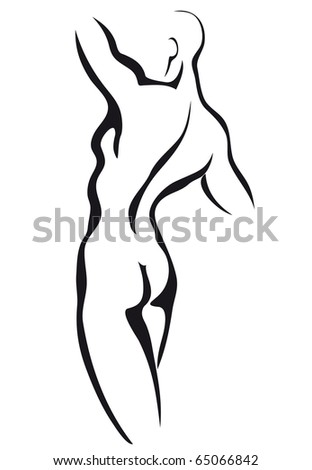 Sketch of man torso - stock vector