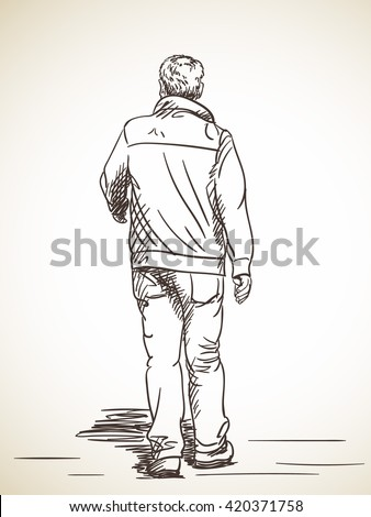 Sketch Man Walking Hand Drawn Illustration Stock Vector ...
