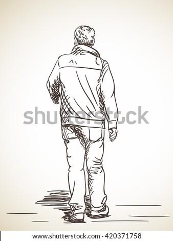 Sketch Man Walking Hand Drawn Illustration Stock Vector ...