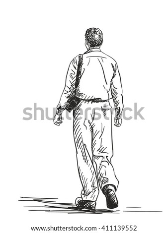 Sketch Walking Woman Back View Hand Stock Vector 413187793 ...