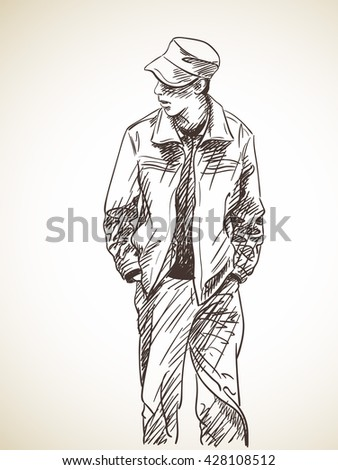 Sketch of man with hands in his pockets, Hand drawn illustration