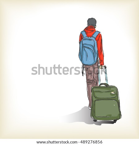 Sketch of man with suitcases, Hand drawn Vector illustration