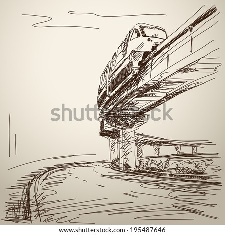Sketch of monorail train. Hand drawn illustration - stock vector