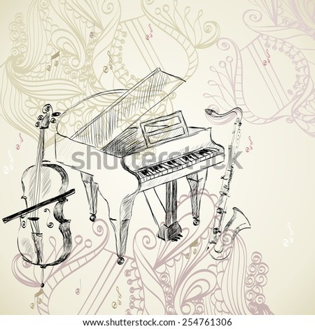 sketch of musical instruments on a beige background - stock vector