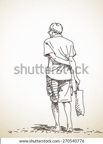 Back View Of An Old Man Stock Images, Royalty-Free Images ...