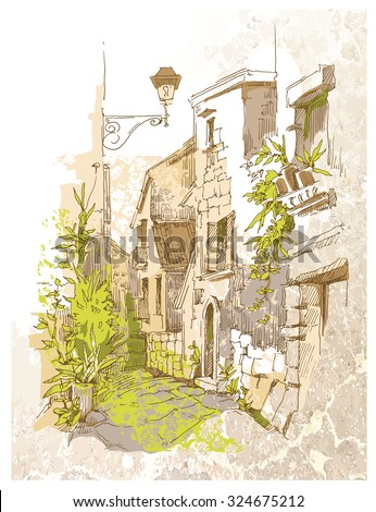 Sketch of old street. Vector illustration made in vintage style. - stock vector