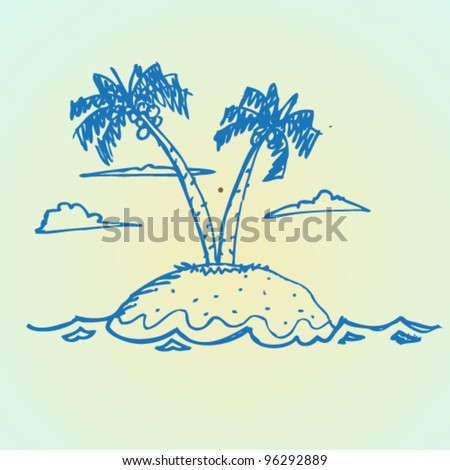 sketch of palm island illustration vector